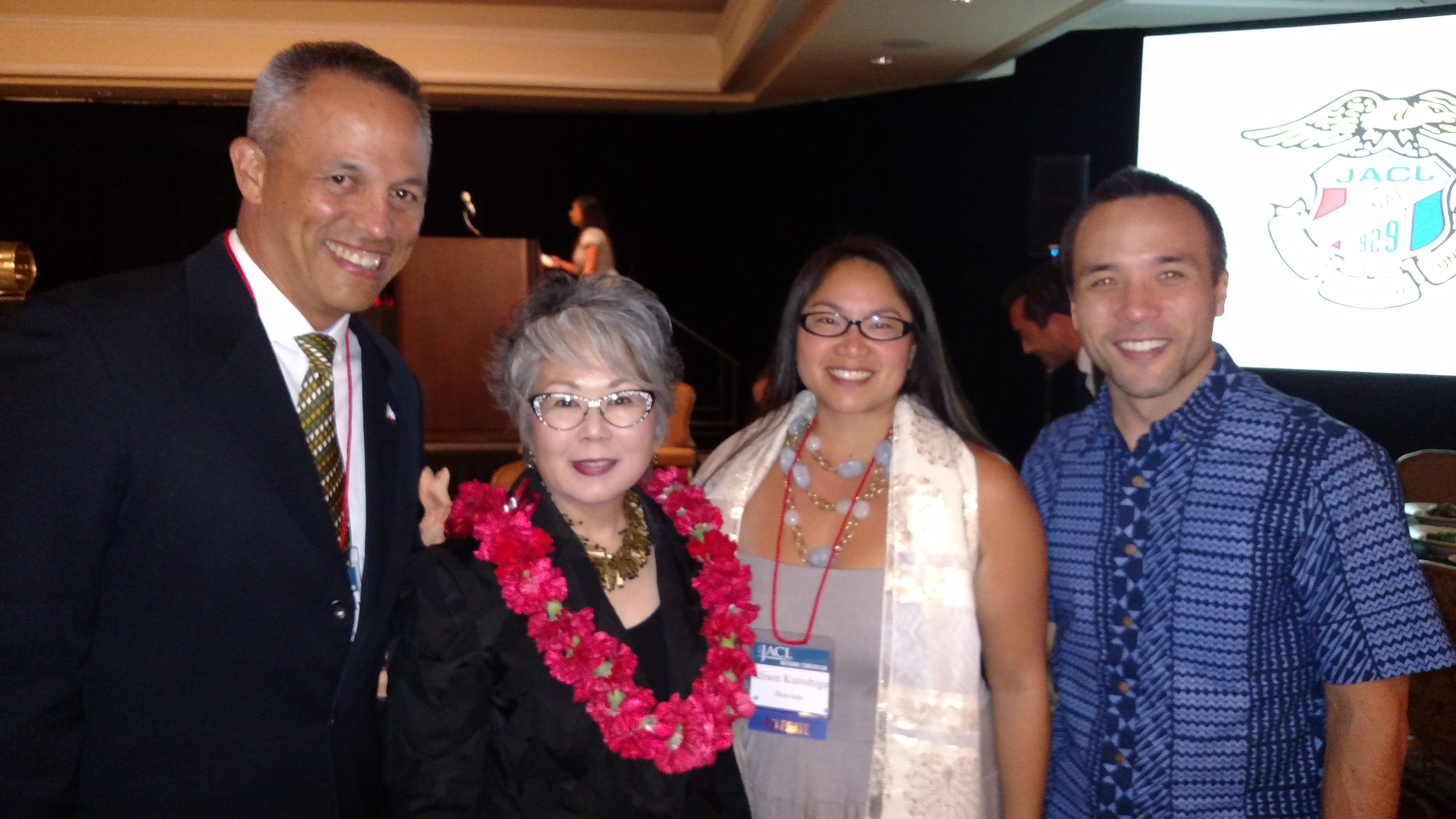 Photo of Carole Hayashino (second from left) is pictured with JACL-Honolulu Chapter board members David Forman (far left), Alison Kunishige and Kent Mori Walther at the JACL national convention in Las Vegas. (Photo courtesy JCCH)