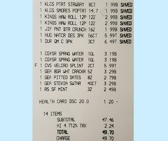 Photo of a Receipt