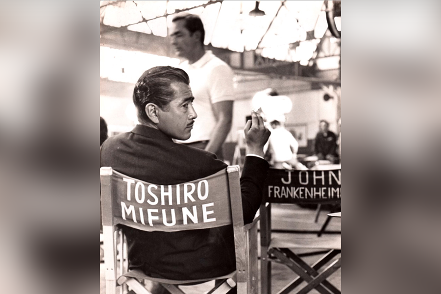 Photo of Toshiro Mifune on a movie set