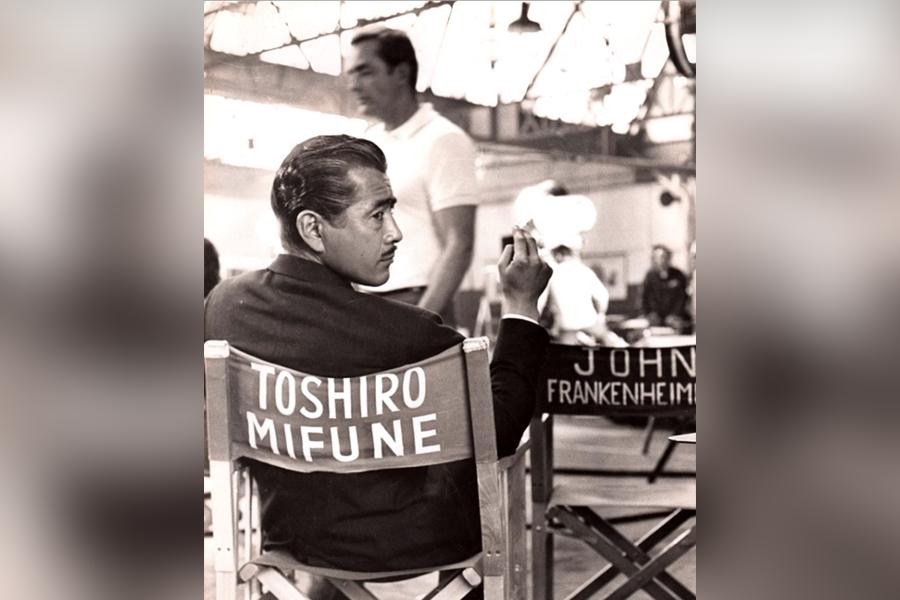 Photo of Toshiro Mifune on a movie set