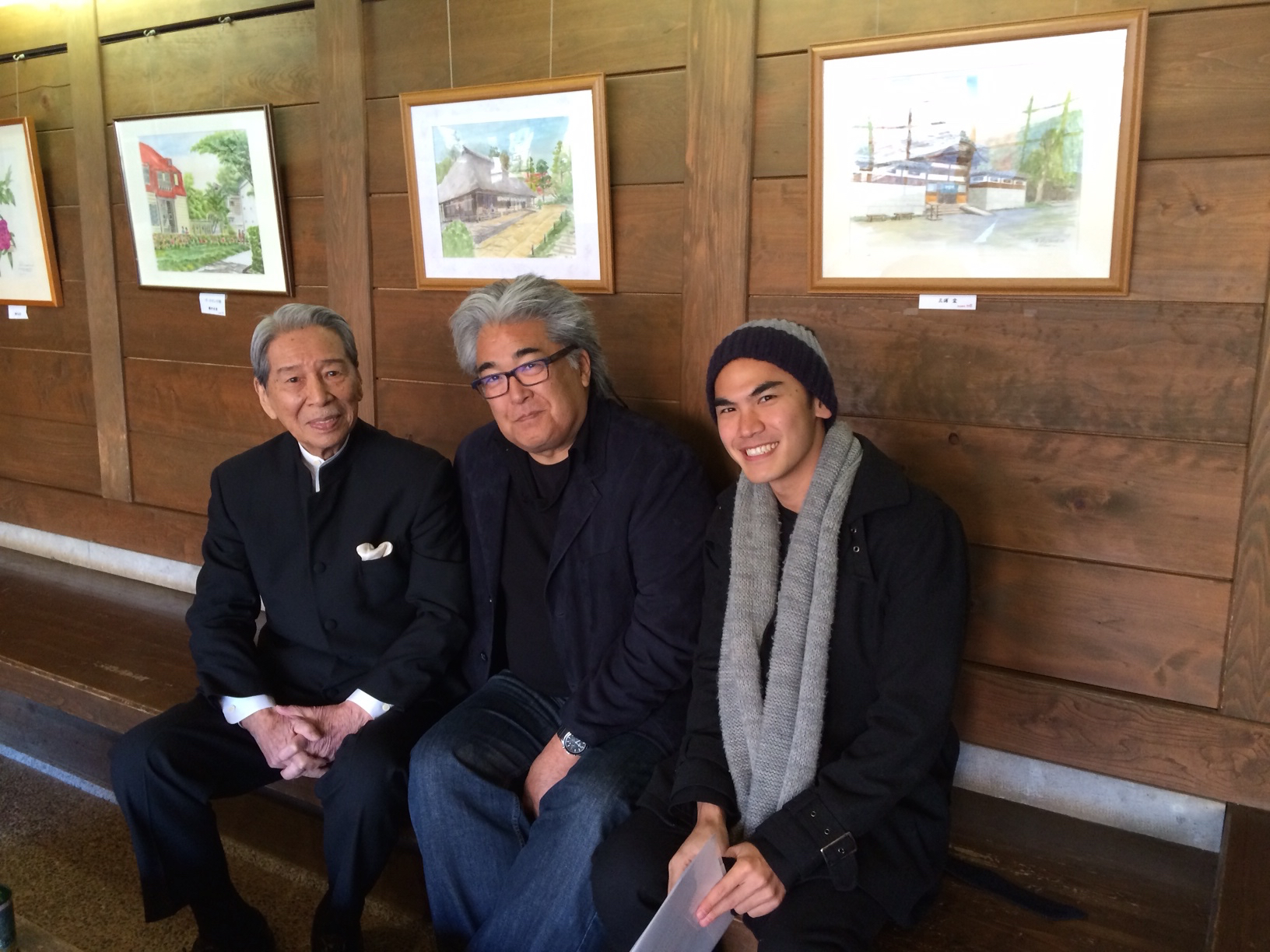 Photo of Filmmaker Steven Okazaki (center) with actor Yosuke Natsuki (left) and Toshiro Mifune's grandson Rikiya Mifune. (Photo courtesy Steven Okazaki)