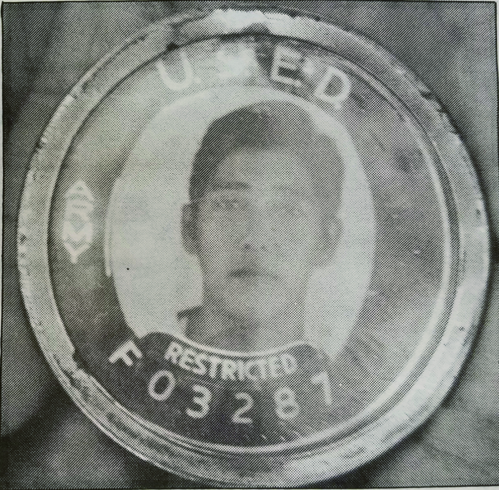 "Photo of the ""Black Badges"" worn by Japanese Americans during World War II"