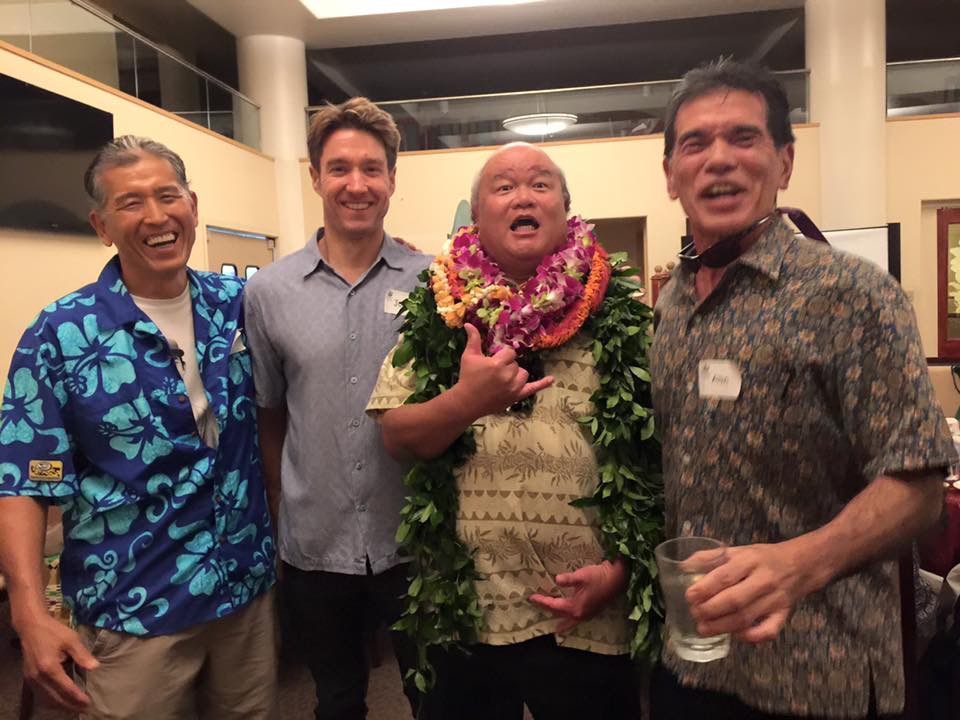 Photo of Chad Taniguchi (Hawaii Bicycling League), Jeff Mikulina (Blue Planet Foundation) and Alan Murakami (Native Hawaiian Legal Corporation) share a laugh with Randy Ching, Sierra Club Hawaii's Volunteer of the Year (with lei). (Photo courtesy Chad Taniguchi)
