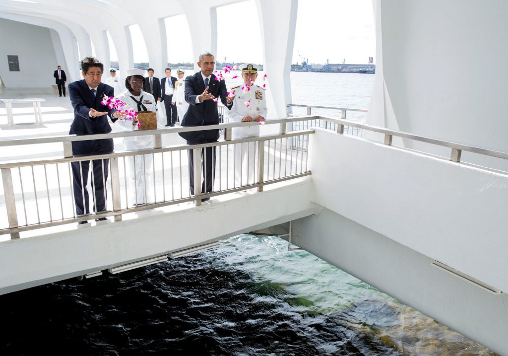 Photo of Adm. Harris and President Barack Obama, on Dec. 27 aboard the USS Arizona Memorial as Obama and Prime Minister of Japan Shinzo Abe honored those killed in Japan's attack on Pearl Harbor
