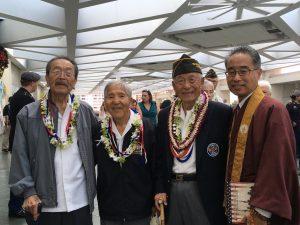 Photo of MIS veterans (from left) the Rev. Yoshiaki Fujitani, Dr. Yoshinobu Oshiro and Herbert Yanamura share their experiences with Bishop Eric Matsumoto of the Honpa Hongwanji Mission of Hawaii.