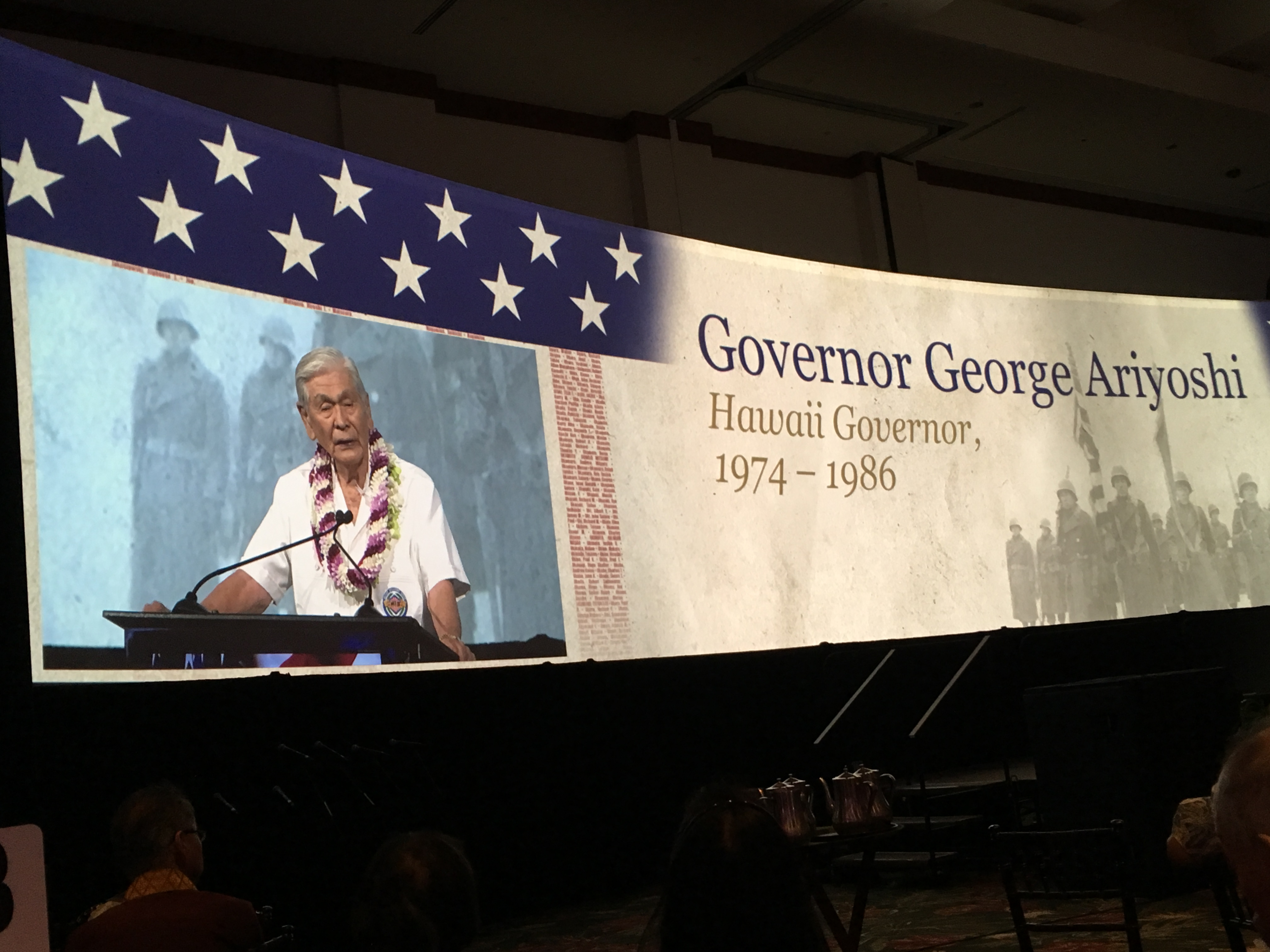 "Photo of Gov. George Ariyoshi, speaking at the ""Japanese American Veterans Tribute"""