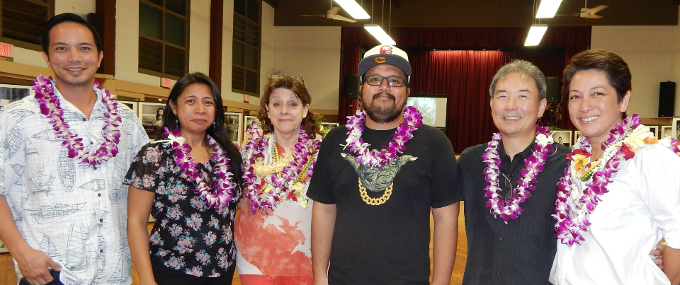 Group Photo of ProjectFocusHawaii co-founders Laurie Callies (third from left) and Lisa Uesugi (far right) with Fujifilm Hawaii supporters (from left) Kalani Kam, Teri Cristobal, Freddy Debebar and company vice president George Otsuka. (Photos by Gail Honda)