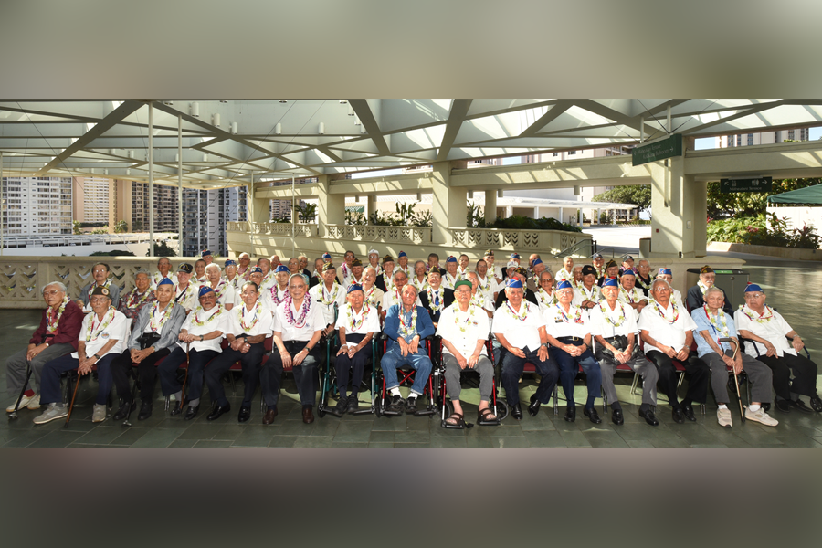 """Photo of veterans who attended the """"Fighting Two Wars: Japanese American Veterans Tribute"""""""