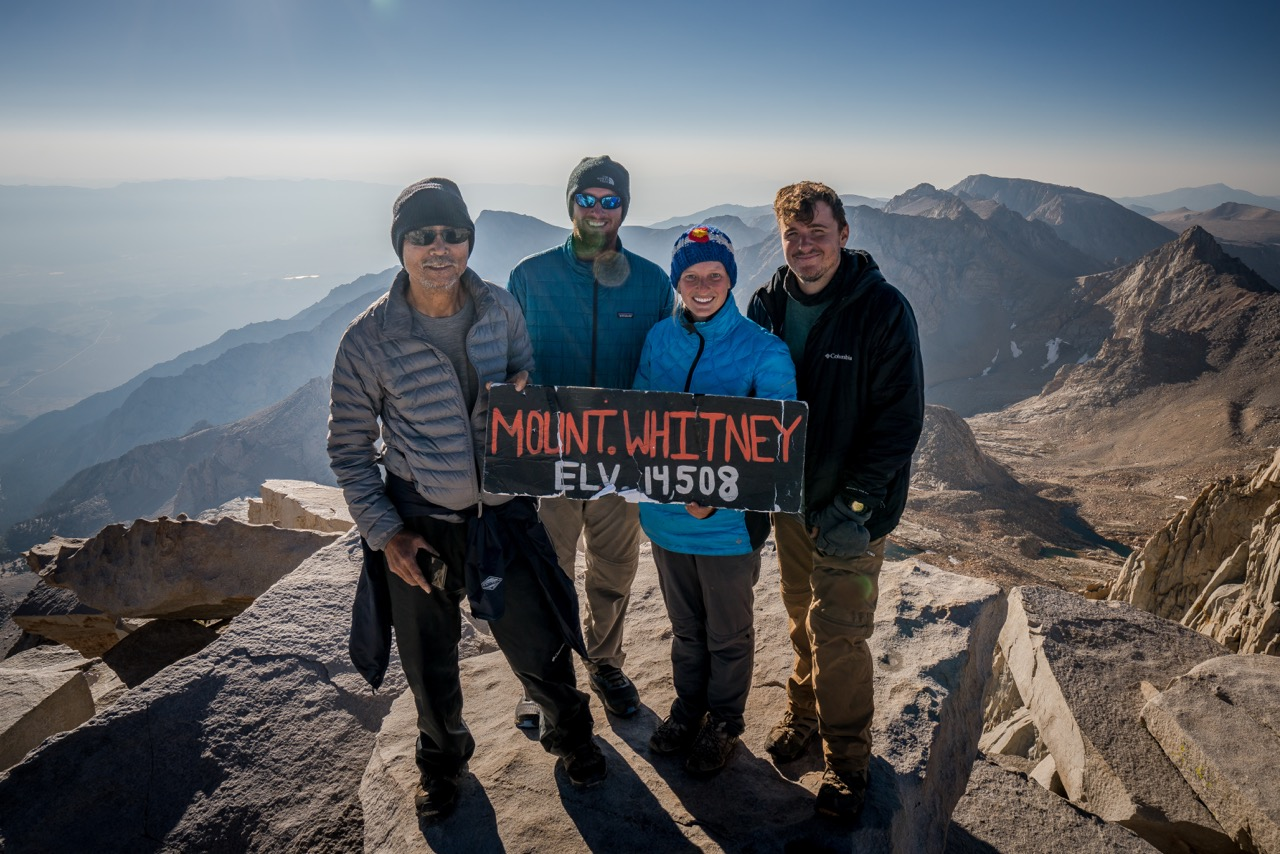 "Group photo at the summit of Mt. Whitney, ""Mission Accomplished"" (www.nathankelleyphoto.com/John -Muir-Trail-2016)"