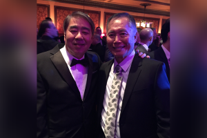 """Photo of """"Allegiance"""" producer Mark Mugiishi with the star of the musical, George Takei."""