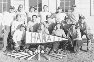 Group Photo of The tournament-winning Hawai'i internee softball team at Fort Missoula.