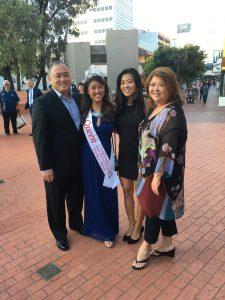 Group photo of the Okihara family attending Nisei week festivities in Los Angeles