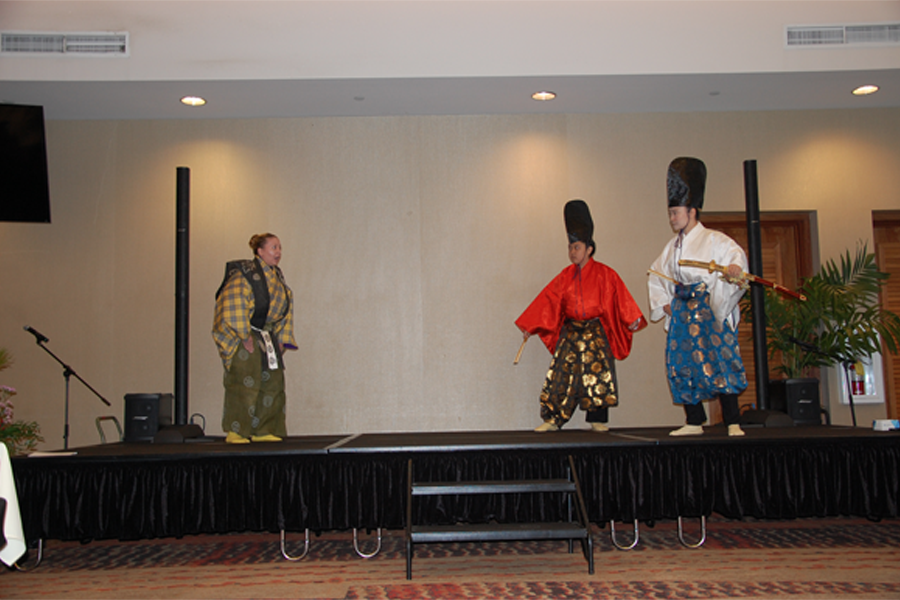 "Photo of the UHM Theatre and Dance students act out a scene from ""Two Great Lords."""