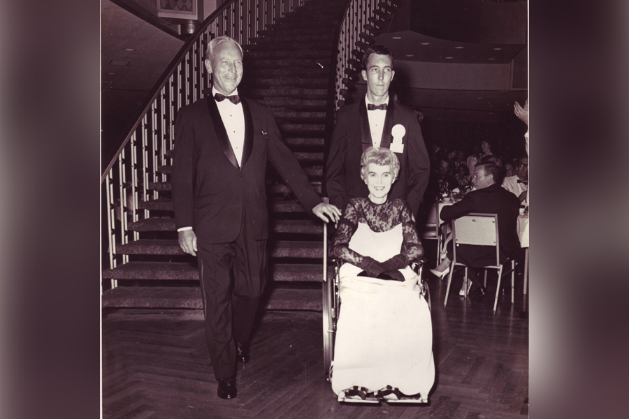 "Family photo of John and first lady, Beatrice Burns with ""miracle son"", Jim Burns"