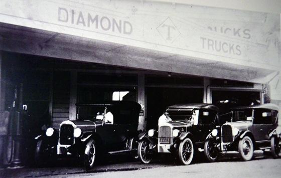 Photo of A line of Diamond T trucks in 1926. (Photos courtesy Kitagawa family)