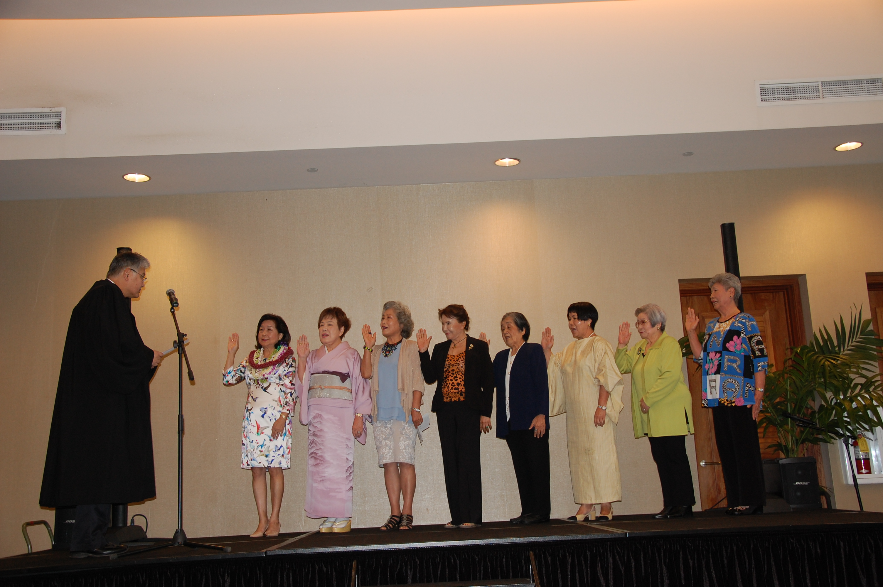 Photo of Circuit Judge Edward Kubo installed the officers of the Shufu Society of Hawaii.