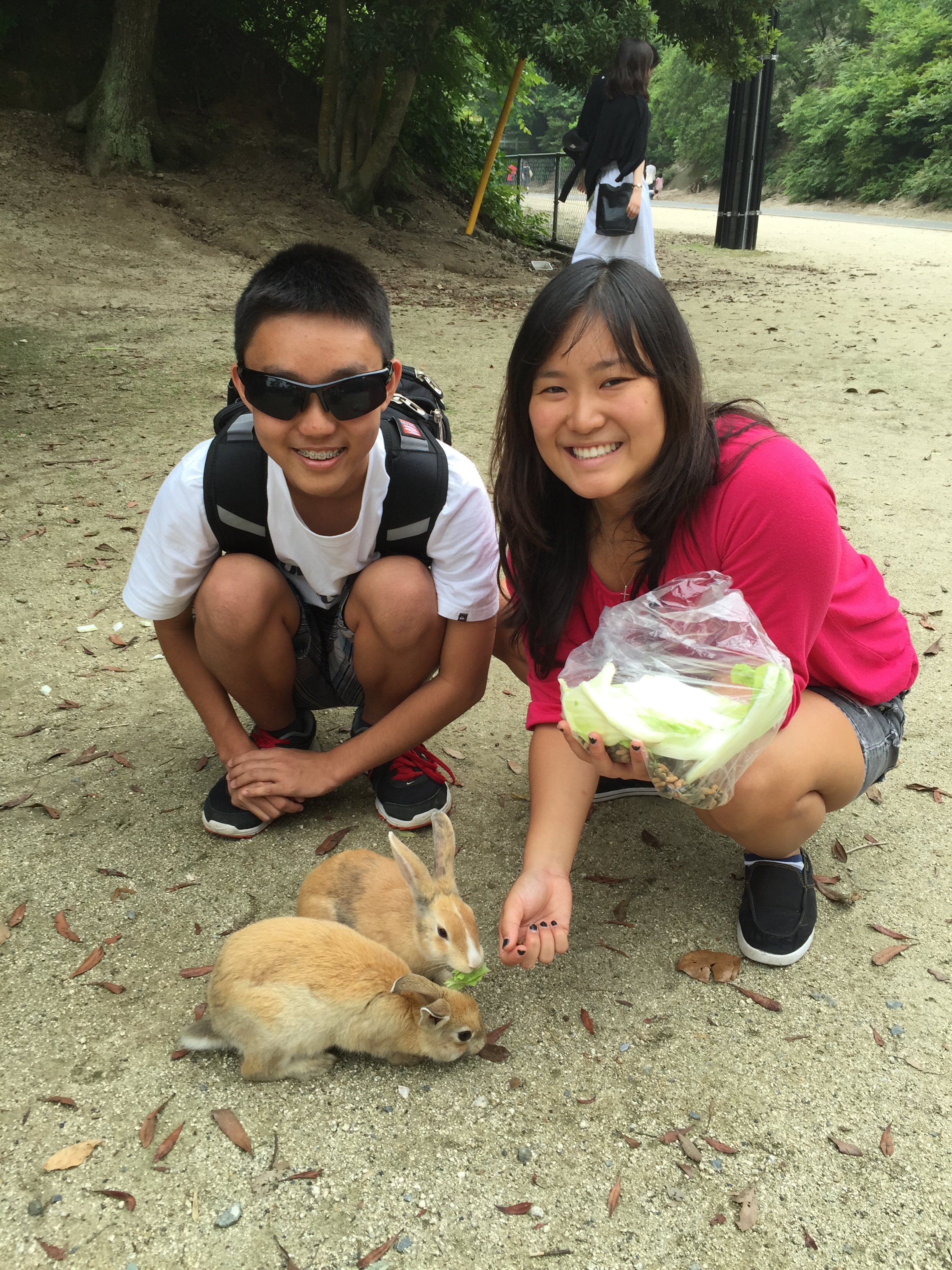 Writer Patsy Iwasaki's children, Jairus and Kellie, feeding rabbits on Okunoshima, also known as Rabbit Island.