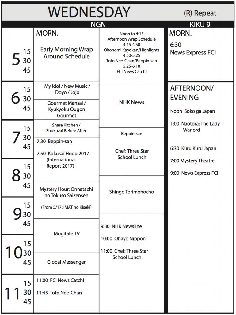 TV Program Schedule, 4/21/17 Issue - Wednesday