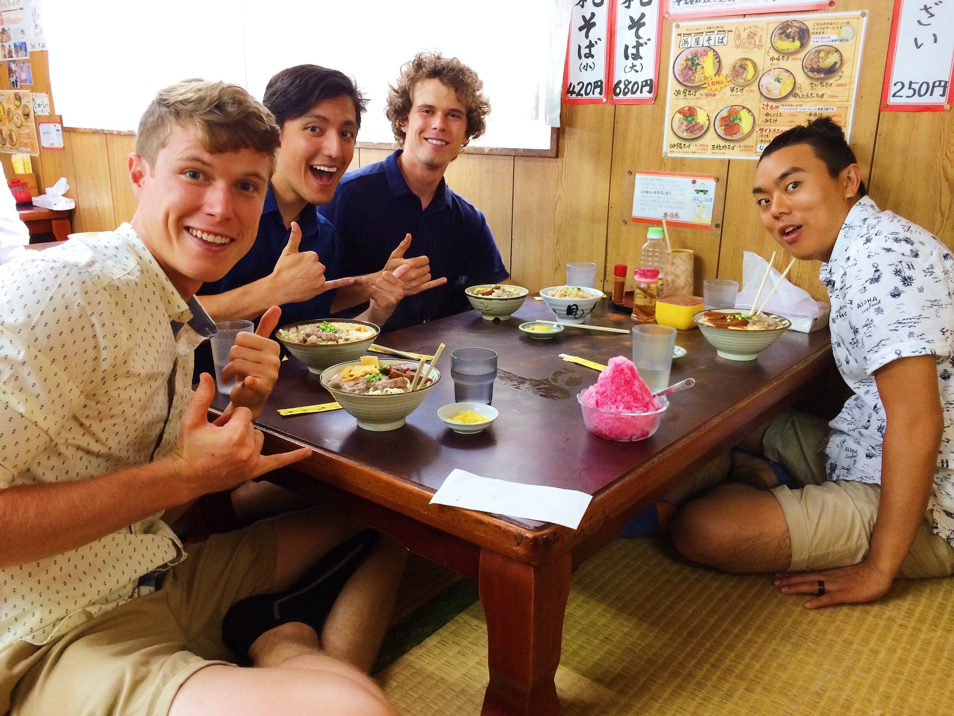 Photo of the band, Streetlight Cadence, eating Okinawa soba (Photos courtesy Streetlight Cadence)