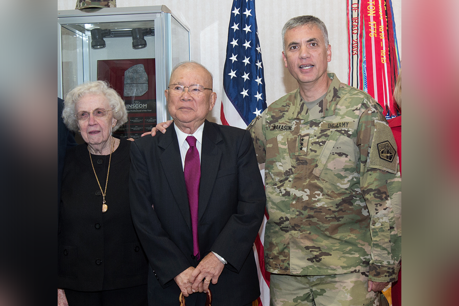 Group photo of Lt. Gen. Paul Nakasone with his parents in 2016.