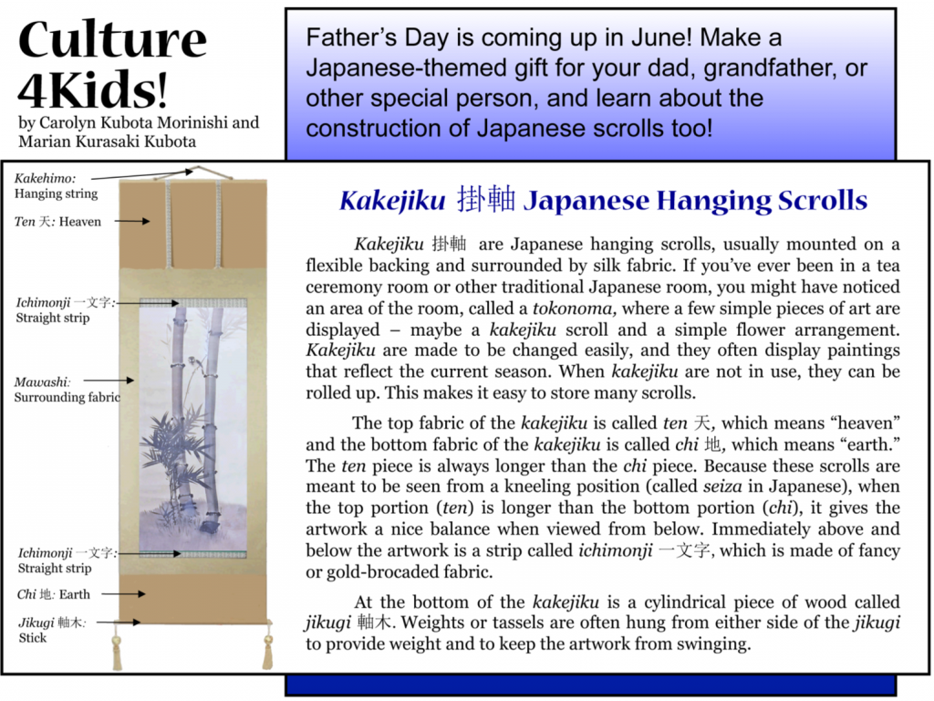 Culture4Kids! Section, featuring Kakejiku for Father's Day