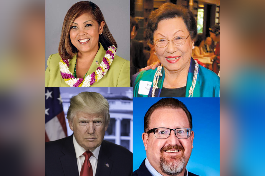 Collage photo of Col. Shirlene Dela Cruz Ostrov, Patricia Saiki, Bob McDermott, and Donald Trump