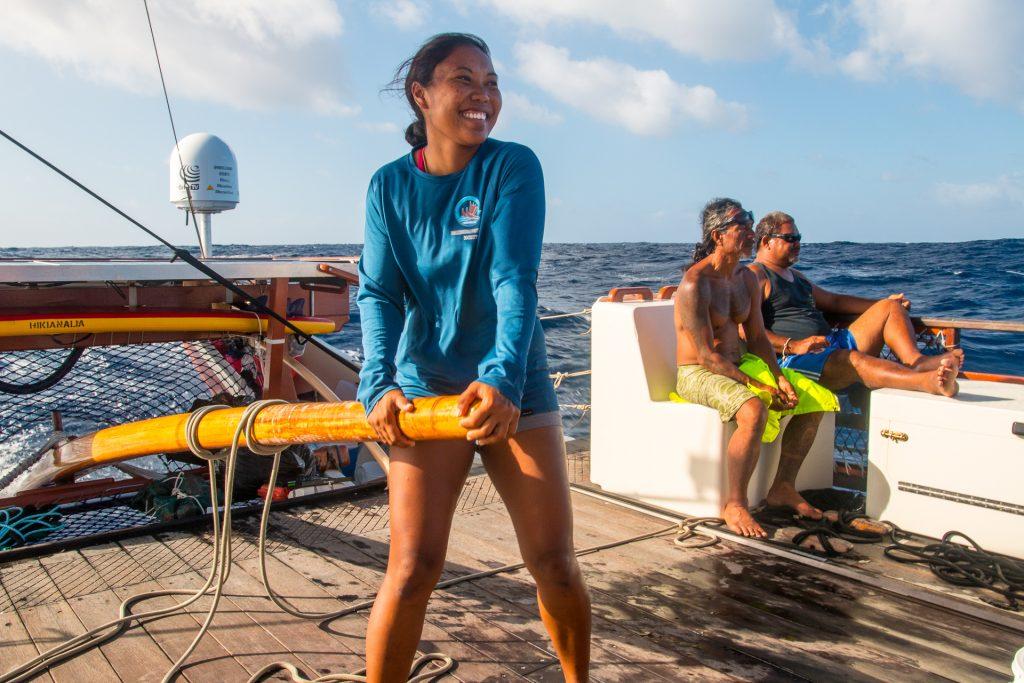 Photo of Kala Baybayan, navigating her canoe across the seas