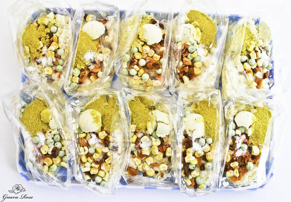 Photo of instant potato veggie soup packets.