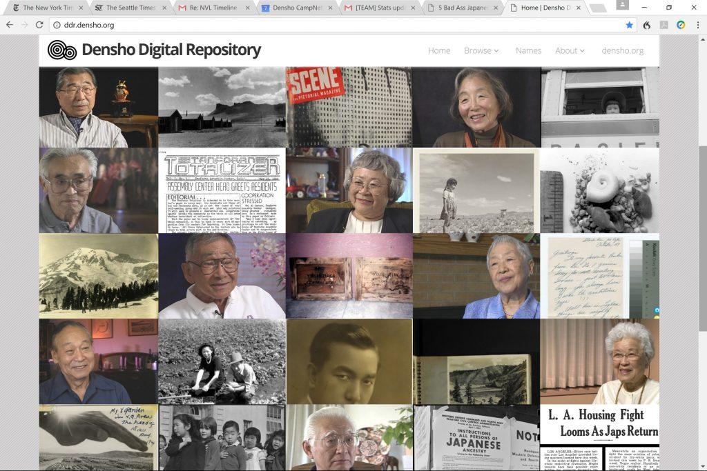 A screenshot of the digital repository of Denshö.org.