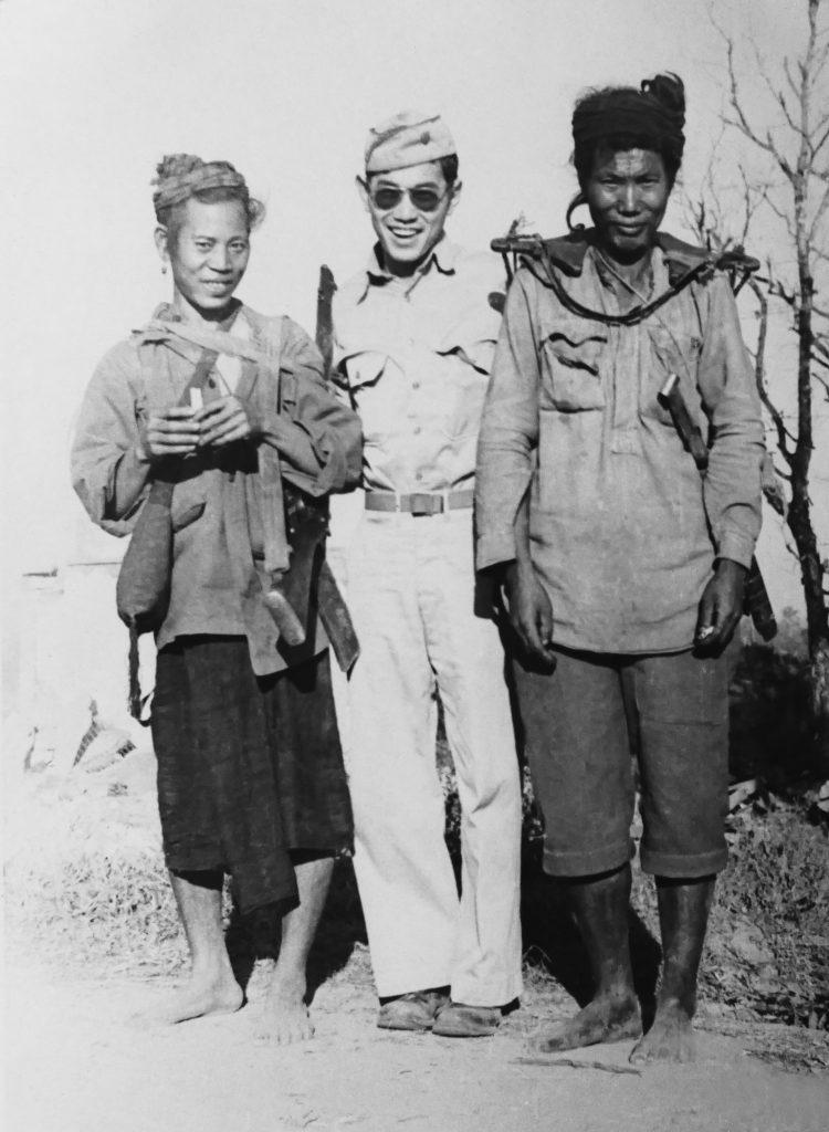 Photo of Ted Tsukiyama with Kachin tribespeople, who were America's allies in Burma in World War II.