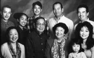 Family photo of three generations of the Tsukiyama family, headed by Ted and Fuku Tsukiyama.