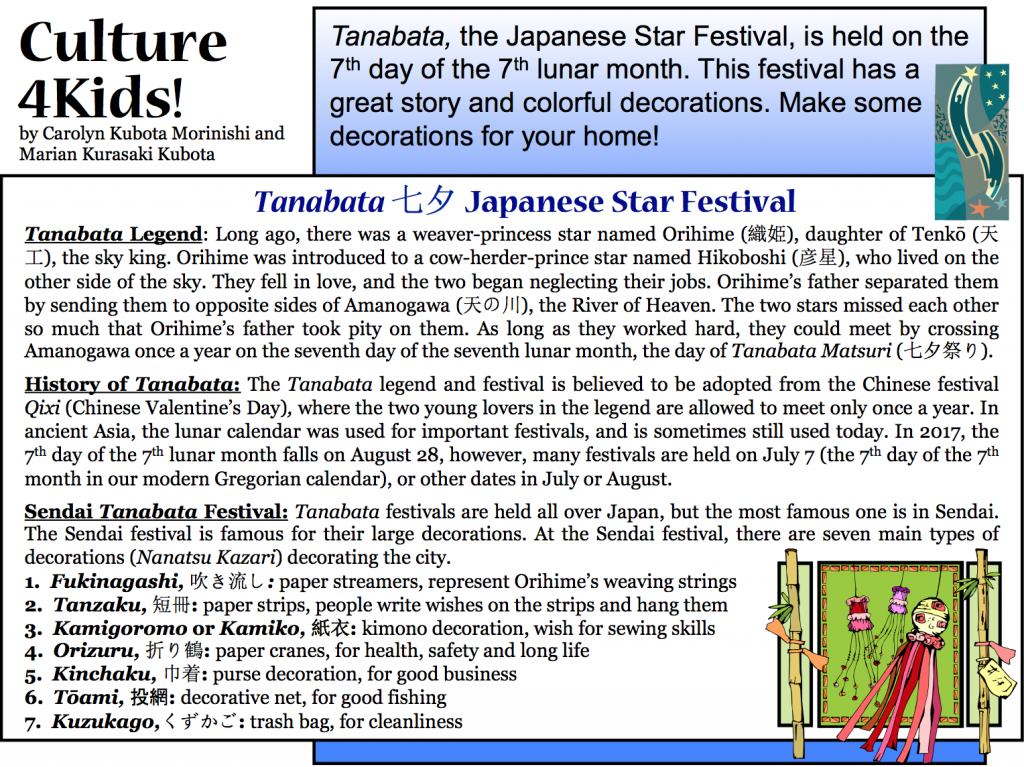 Culture4Kids! Section, featuring making a Tanabata for Japanese Star Festival
