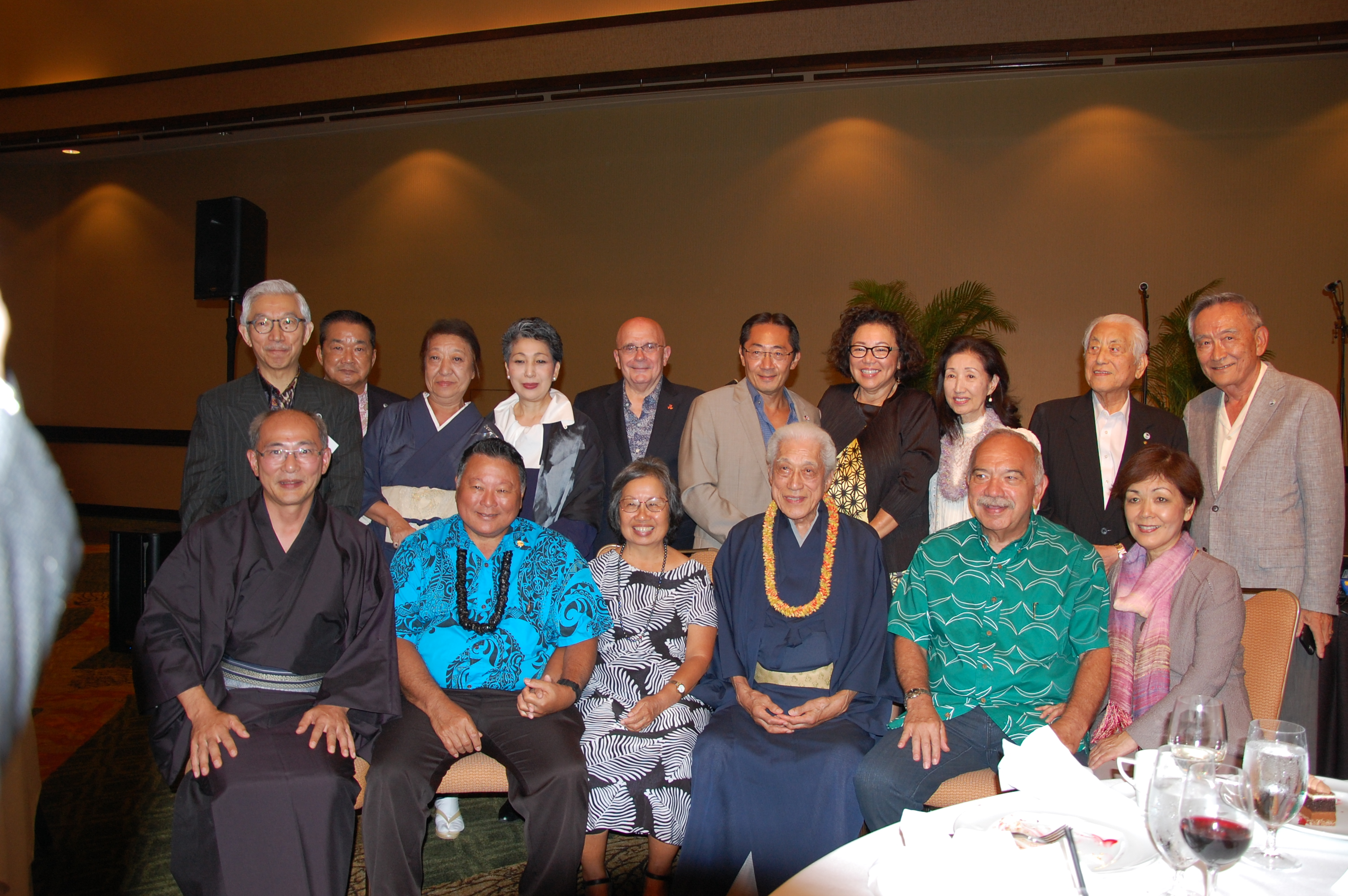 Seated: Consul General of Japan Yasushi Misawa; Maui Mayor Alan Arakawa and wife Ann; Dr. Genshitsu Sen, president of the Urasenke Foundation of Hawaii; and former Hawai'i Gov. John Waihee and wife Lynne. Standing: Former Consul General of Japan in Honolulu and current Urasenke Tankokai Federation advisor Kishichiro Amae; Dr. Sakurai; Mrs. Yukiko Sakurai, niece of Dr. Sen; Mrs. Hidemi Amae; East-West Center president Richard Vuylsteke; Japan-America Society of Hawaii board chair Sal Miwa; Japanese Cultural Center of Hawai'i board chair Christine Kubota; Misako Kurokawa; Mr. Ajito of Urasenke Japan; and Akemi Kurokawa, former president of Urasenke Tankokai Hawaii.