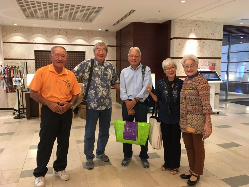 """Group Photo from left: Kazuo, Ian, Grant, Kathleen and Chiyoko. """"Although we didn't have any current pictures of Chiyoko and Kazuo, we recognized them instantly,"""" writes Grant Kagimoto. (Photos courtesy Alma Kagimoto)"""