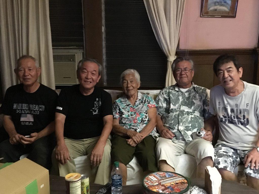 Group photo from left: Susumu, Masaru, Auntie Yoshi, Hiroshi and Minoru.
