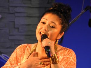 """Rimi Natsukawa of her concert last year in Hawai'i: """"At that time, the feeling of Hawai'i was so welcoming, I strongly felt that I would like to come back again. Then came an opportunity to sing at the Okinawan Festival!"""" (Photo by Jon Itomura)"""