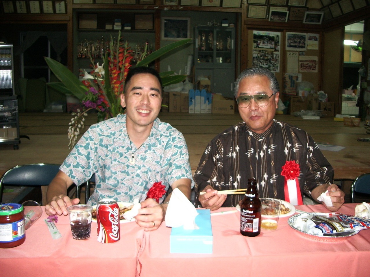 In 2005, the Nagahama Kariyushi Kai had a party to recognize Toma-san and myself for our promotions — Toma-san to Lieutenant in the Okinawa Police Force, and myself to Major in the Air Force Reserves.