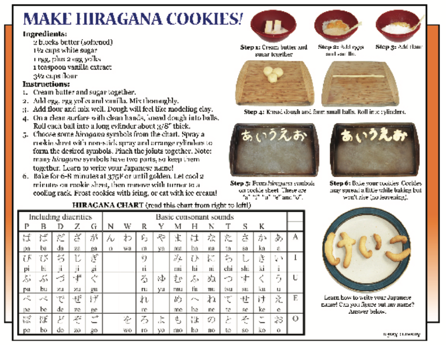 """Culture 4 Kids, Aug. 4 2017 Issue """"Make Hiragana Cookies"""""""