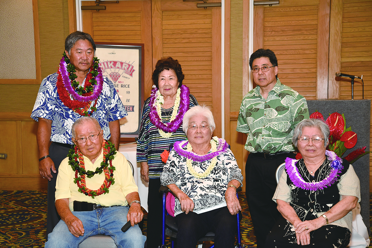 Shimaya Shoten's principals at the company's 100th anniversary party on Aug. 27. Standing, from left: current president Keith Shota, Helen Onoye (widow of Jiro Onoye) and David Onoye (son of Hideo Onoye). Seated from left: Ichiro Onoye, Kazuko Ishida and Grace Sonoda.