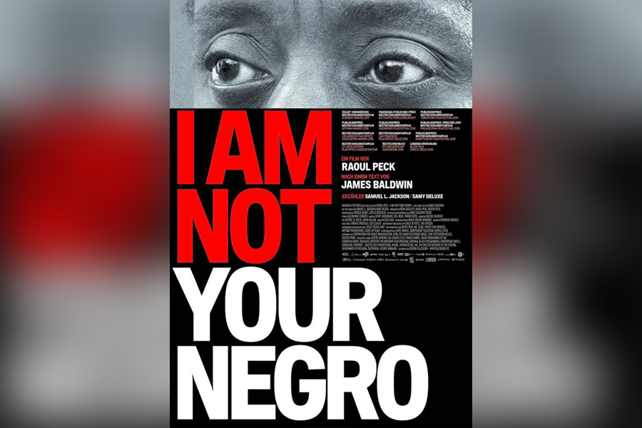 "The cover of ""I Am Not Your Negro"" is available on DVD, which can be borrowed from your public library."
