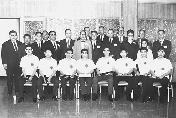 "The 1968 first intern graduating class of ""The Postgraduate Medical Training Program of the University of Hawai'i at Okinawa Central Hospital."" (Photo courtesy UH JABSOM and Chubu Hospital)"