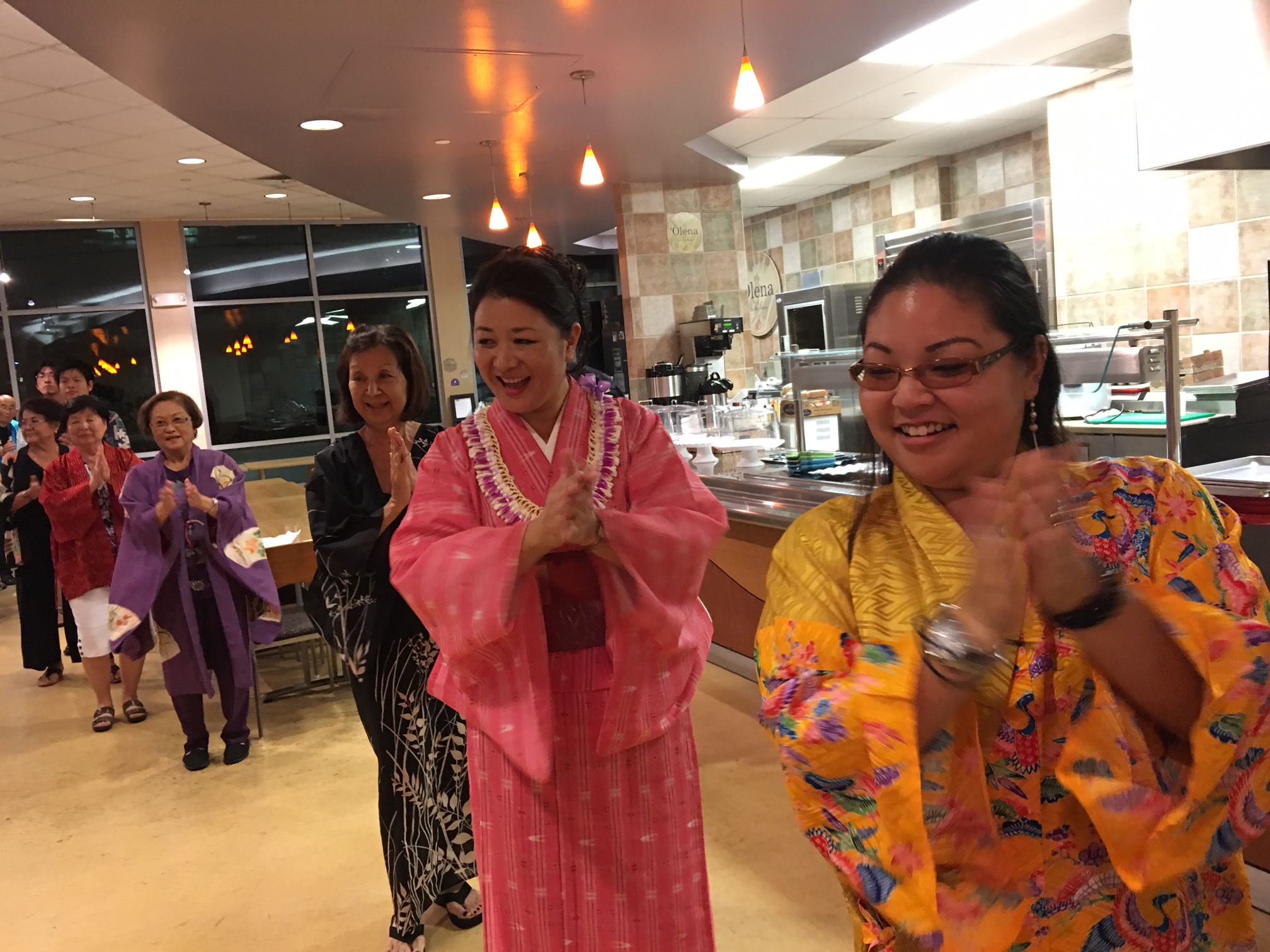 Guests joined in a bon dance led by members of the Iwakuni Odori Aiko Kai.