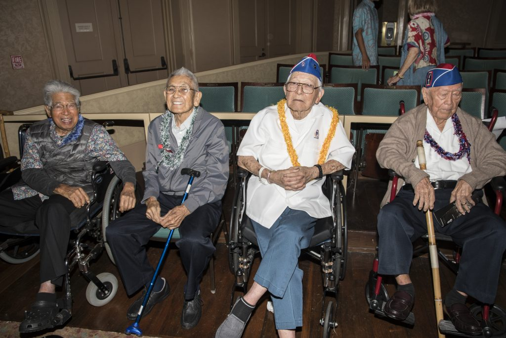 Among the special guests at the Oct. 8 preview screening at the Hawaii Theatre were (from left): retired U.S. Sen. Daniel Akaka and 442nd RCT veterans Robert Kishinami, Paul Watanabe and Akira Otani. Otani also served in the Hawai'i Territorial Guard, Varsity Victory Volunteers and Military Intelligence Service.