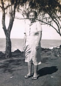 Hide Kurasaki at the beach in Kapa'a (circa 1950s). Hide loved the sound of the ocean; fortunately, she found a property across the street from the beach. (Photos courtesy Carolyn Morinishi)