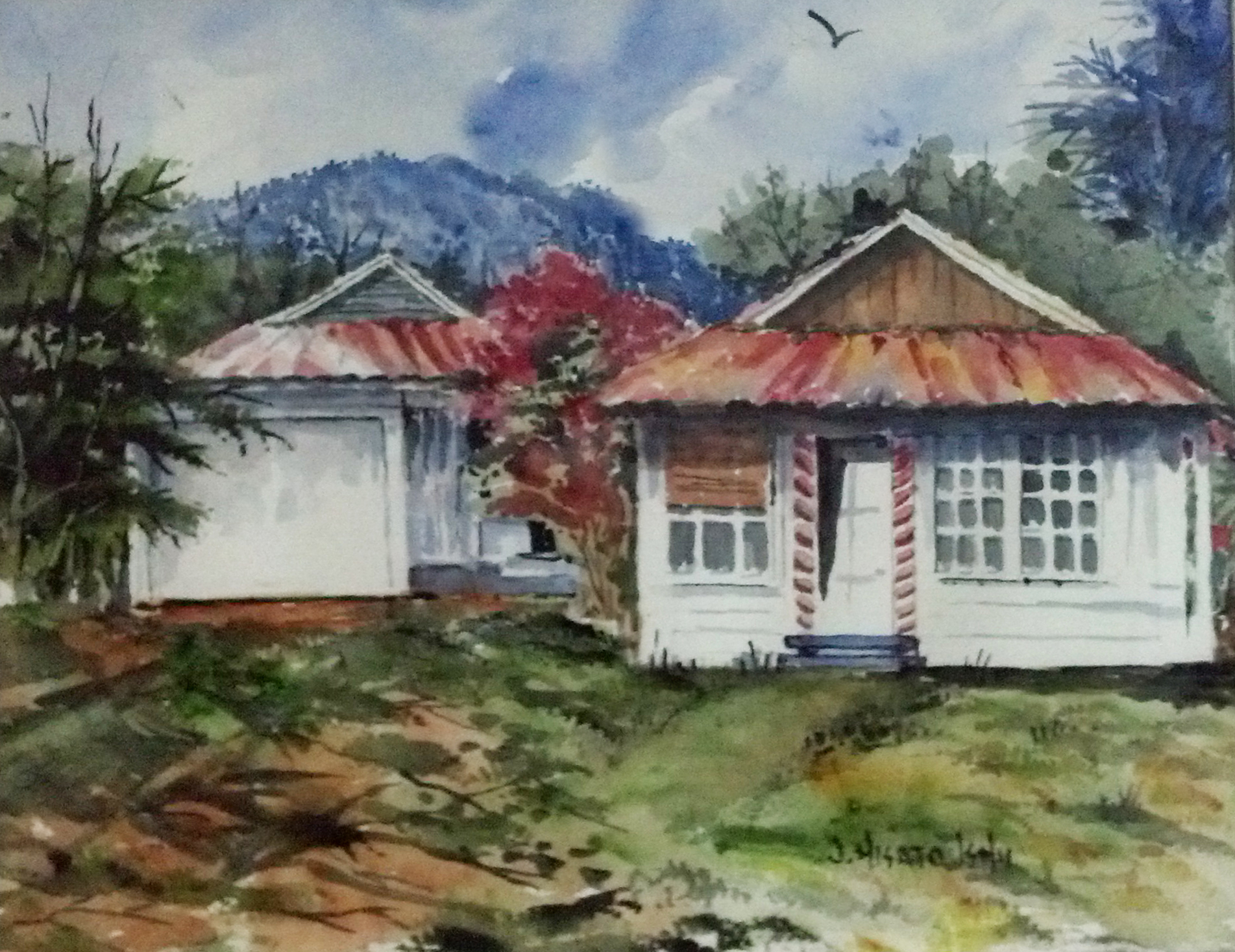Carolyn's Uncle Jim captured the old family home in this painting.