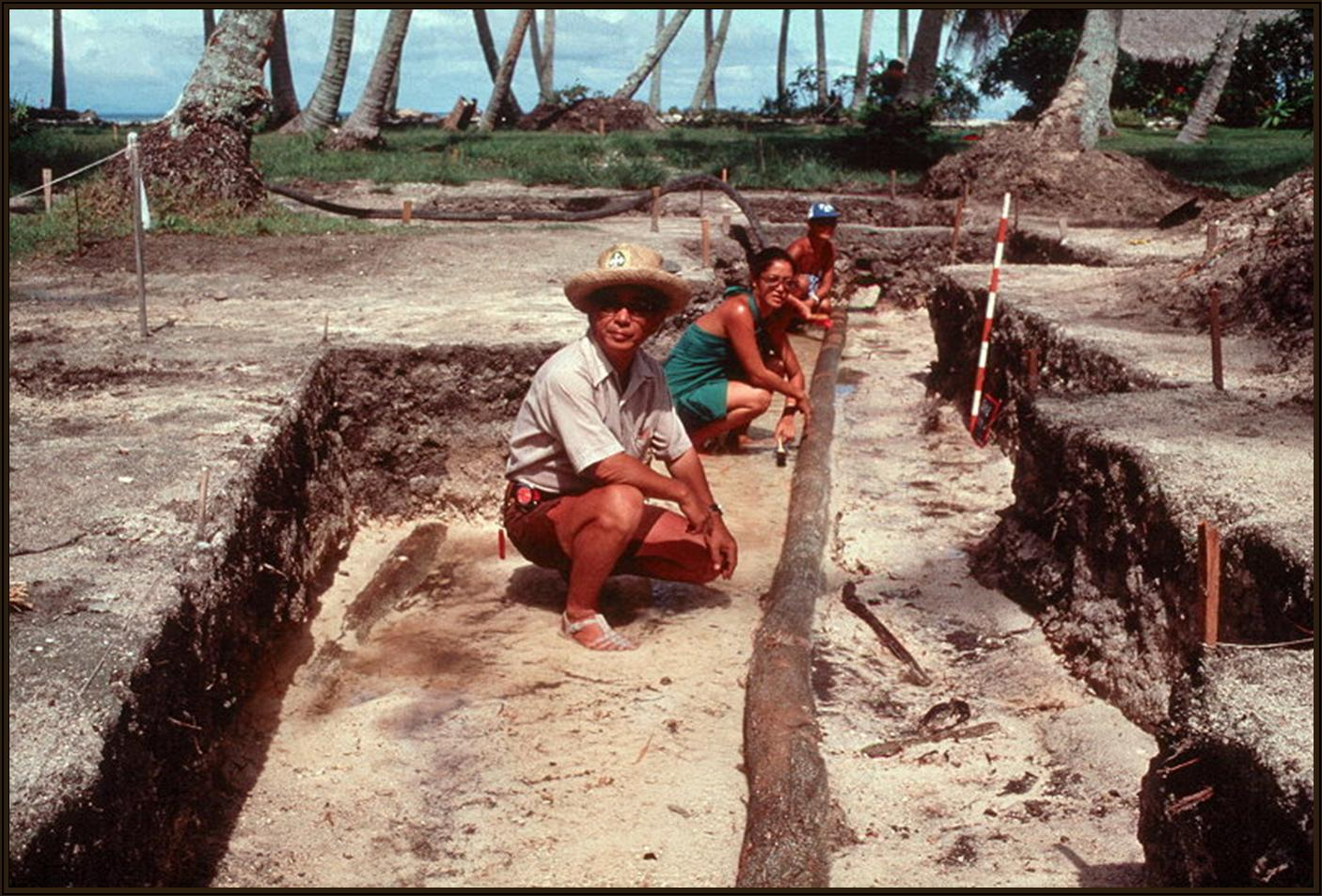 Dr. Sinoto on an excavation field trip in Huahine, French Polynesia. (Photos courtesy Bishop Museum)