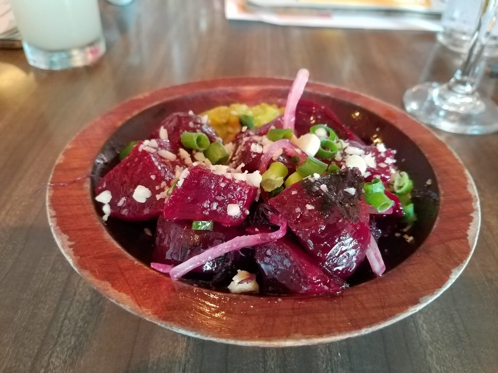 Beet poke was one of the dishes served at Mud Hen Water.