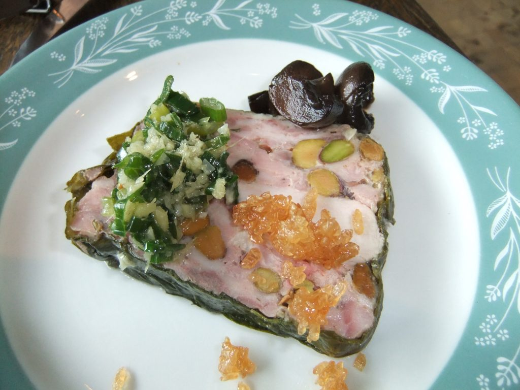 Mud Hen Water's Cold Ginger Rabbit Terrine is a twist on the classic Chinese cold ginger chicken, substituting locally raised rabbit for the chicken.