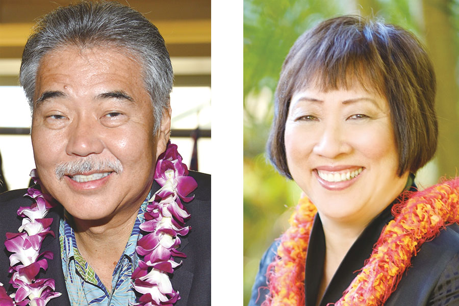 Photos of Governor David Ige and Colleen Hanabusa, as we prepare for 2018 Election