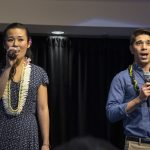"""Elena Wang and Sam Tanabe, members of the Broadway cast of """"Allegiance,"""" sing a song from the musical for the JCCH audience. Wang will play """"Kei"""" in next year's Los Angeles production of the musical. (Photos by Gregg Kakesako)"""